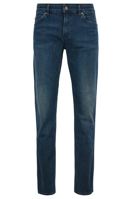 Slim-fit jeans in comfort-stretch green-cast denim, Blue