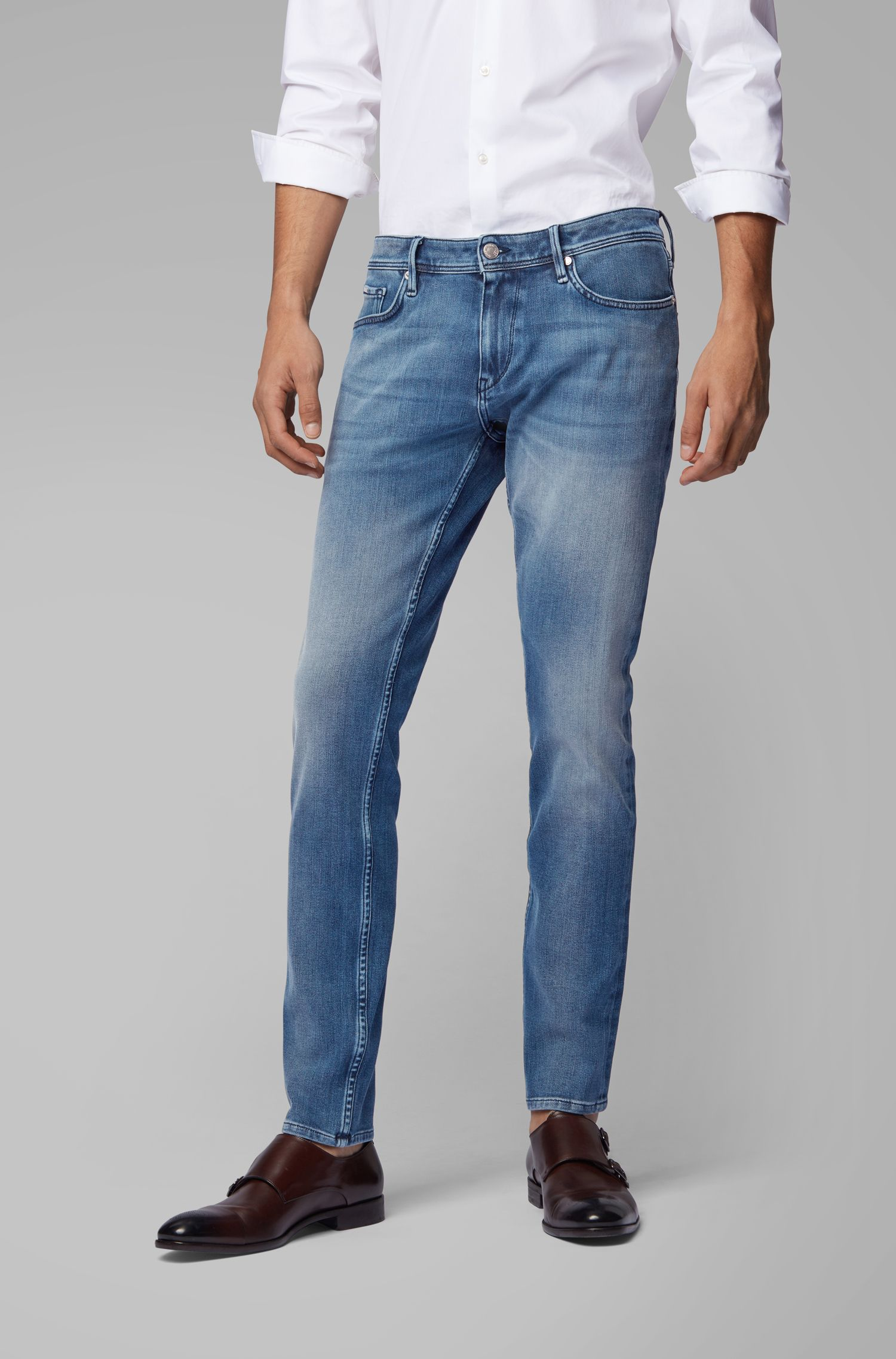 Extra-slim-fit jeans in eco-friendly double-stretch Italian denim, Blue