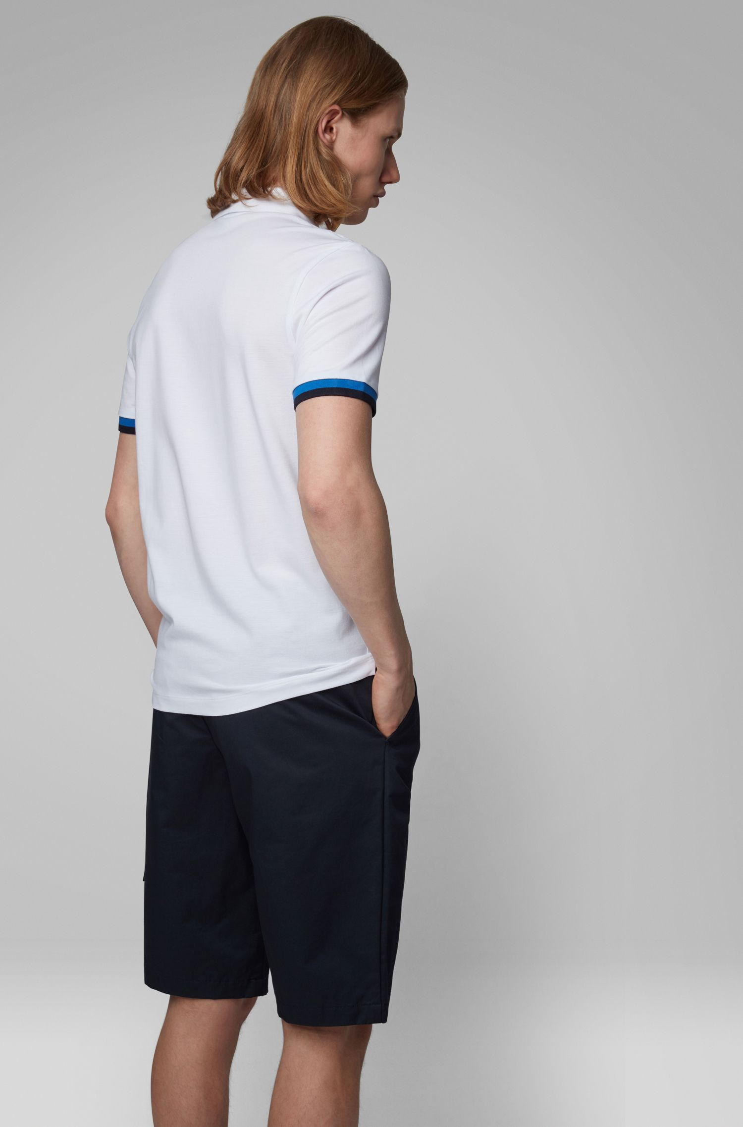 Slim-fit polo shirt with knitted-logo undercollar, White