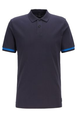 Slim-fit polo shirt with knitted-logo undercollar, Dark Blue
