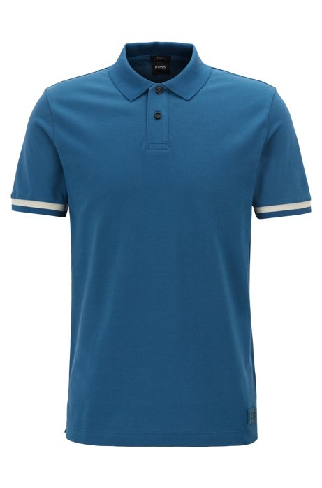 Slim-fit polo shirt with knitted-logo undercollar, Blue