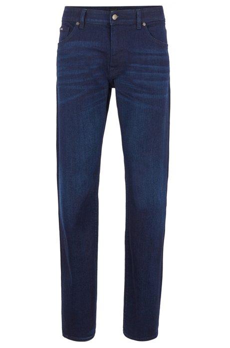 Regular-fit jeans in Italian dark-blue stretch denim, Dark Blue
