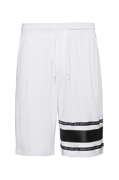 Interlock-cotton shorts with logo-tape detailing, White