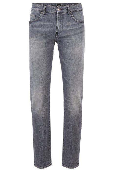 Slim-fit jeans in Italian gray-black stretch denim, Dark Grey