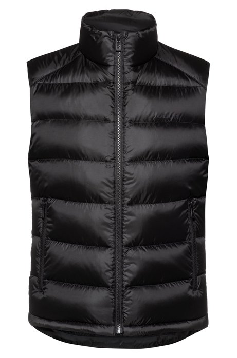 Water-repellent down gilet with reverse-logo print, Black