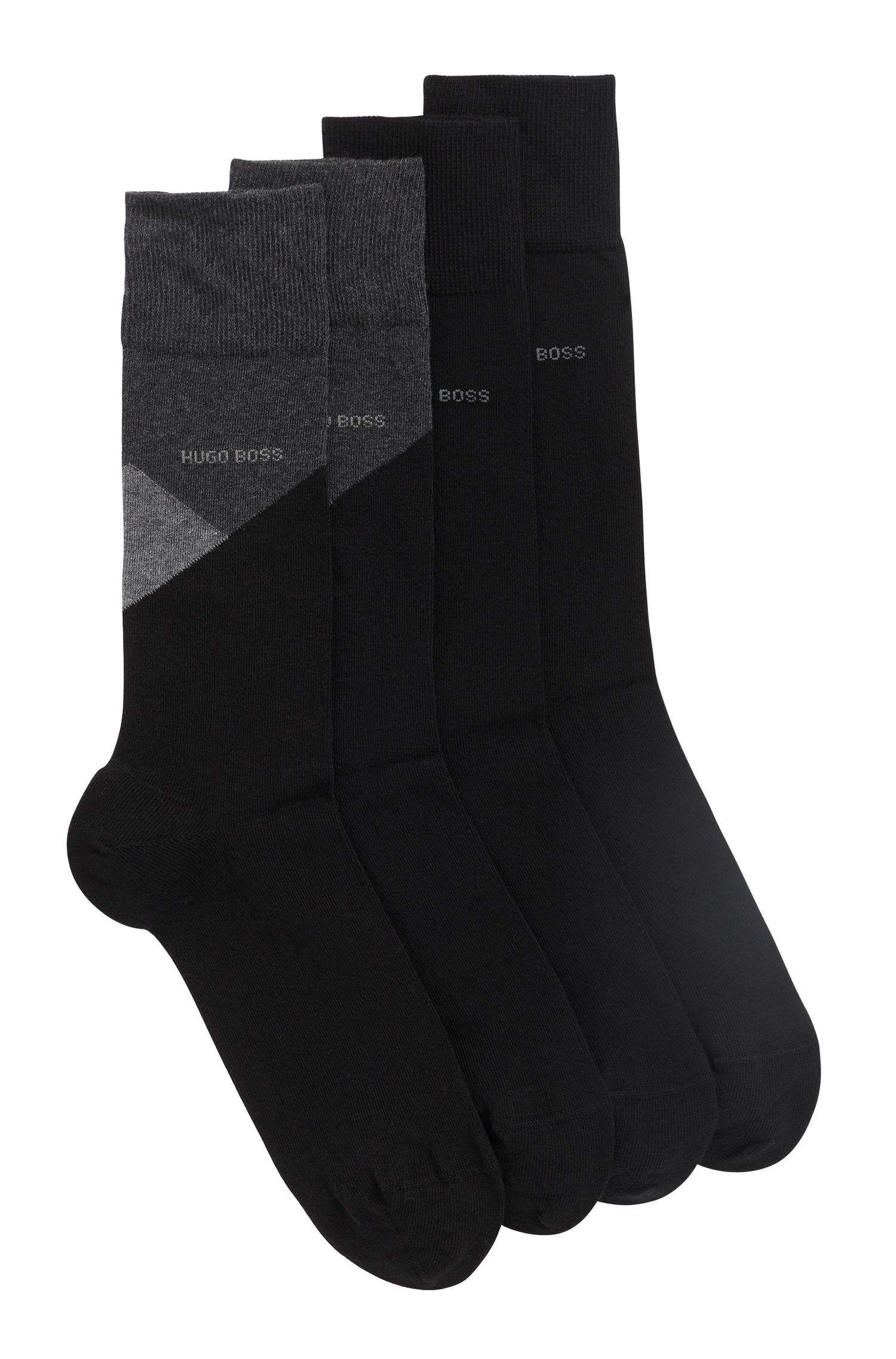 Two-pack of socks in a combed-cotton blend, Black