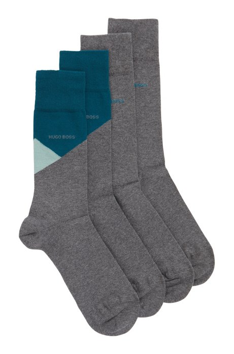 Two-pack of socks in a combed-cotton blend, Grey