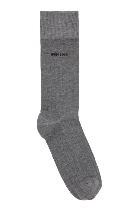 Regular-length socks in a mercerized-cotton blend, Grey