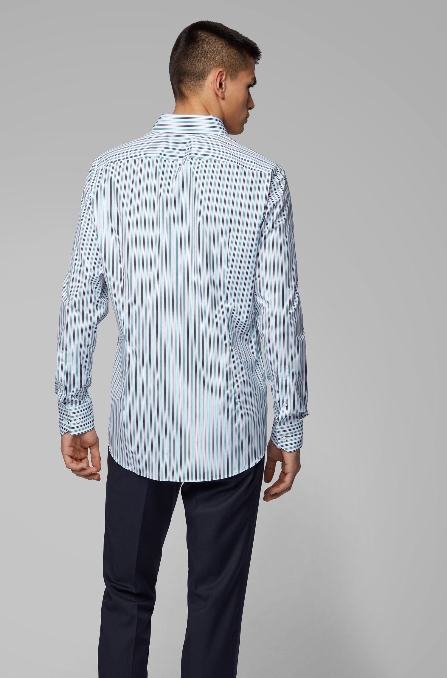 Slim-fit shirt in two-tone striped cotton, Green