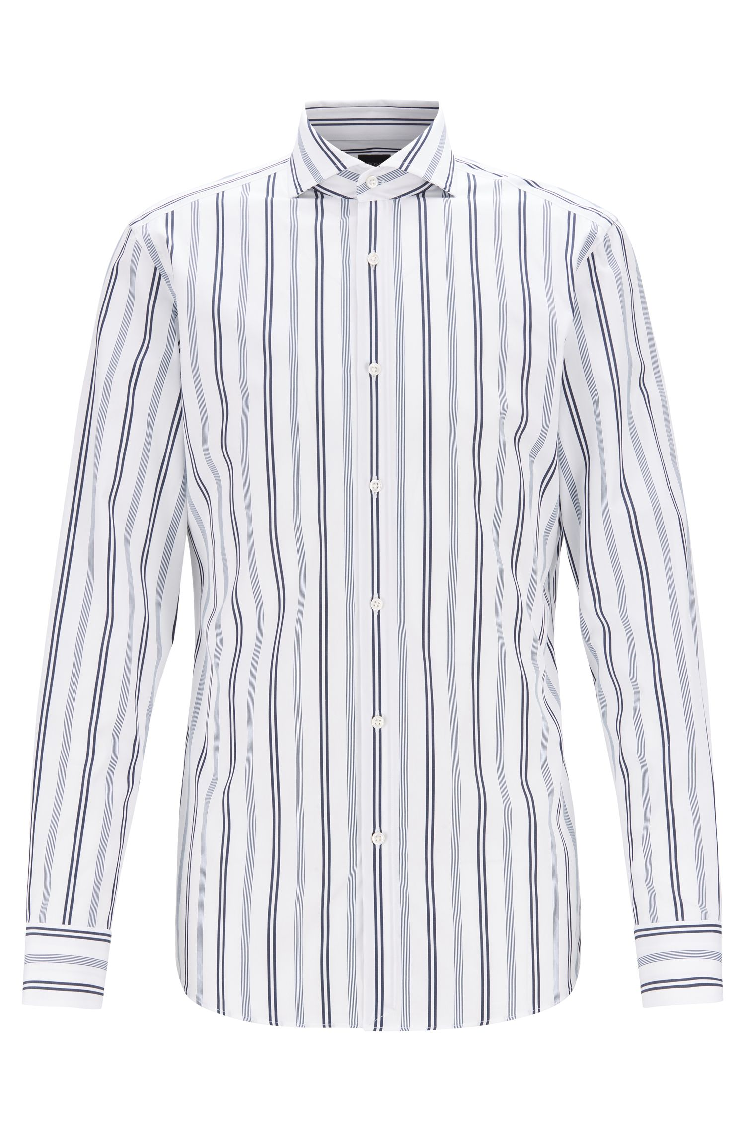 Slim-fit shirt in multi-striped cotton, Dark Blue
