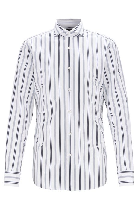 Slim-fit shirt in multi-striped cotton, Dark Blue