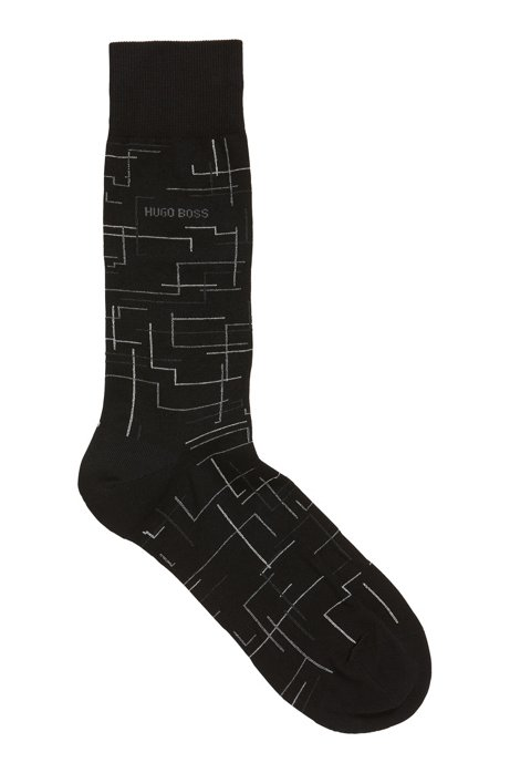 Patterned regular-length socks in a mercerized-cotton blend, Black