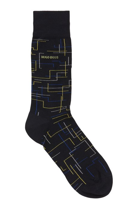Patterned regular-length socks in a mercerized-cotton blend, Dark Blue