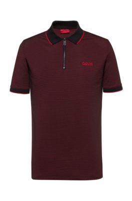 Slim-fit polo shirt with chunky-zip neckline, Black