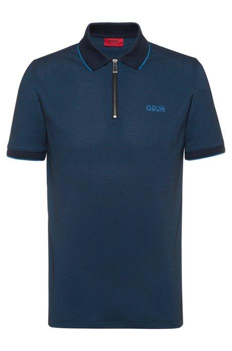 Slim-fit polo shirt with chunky-zip neckline, Dark Blue