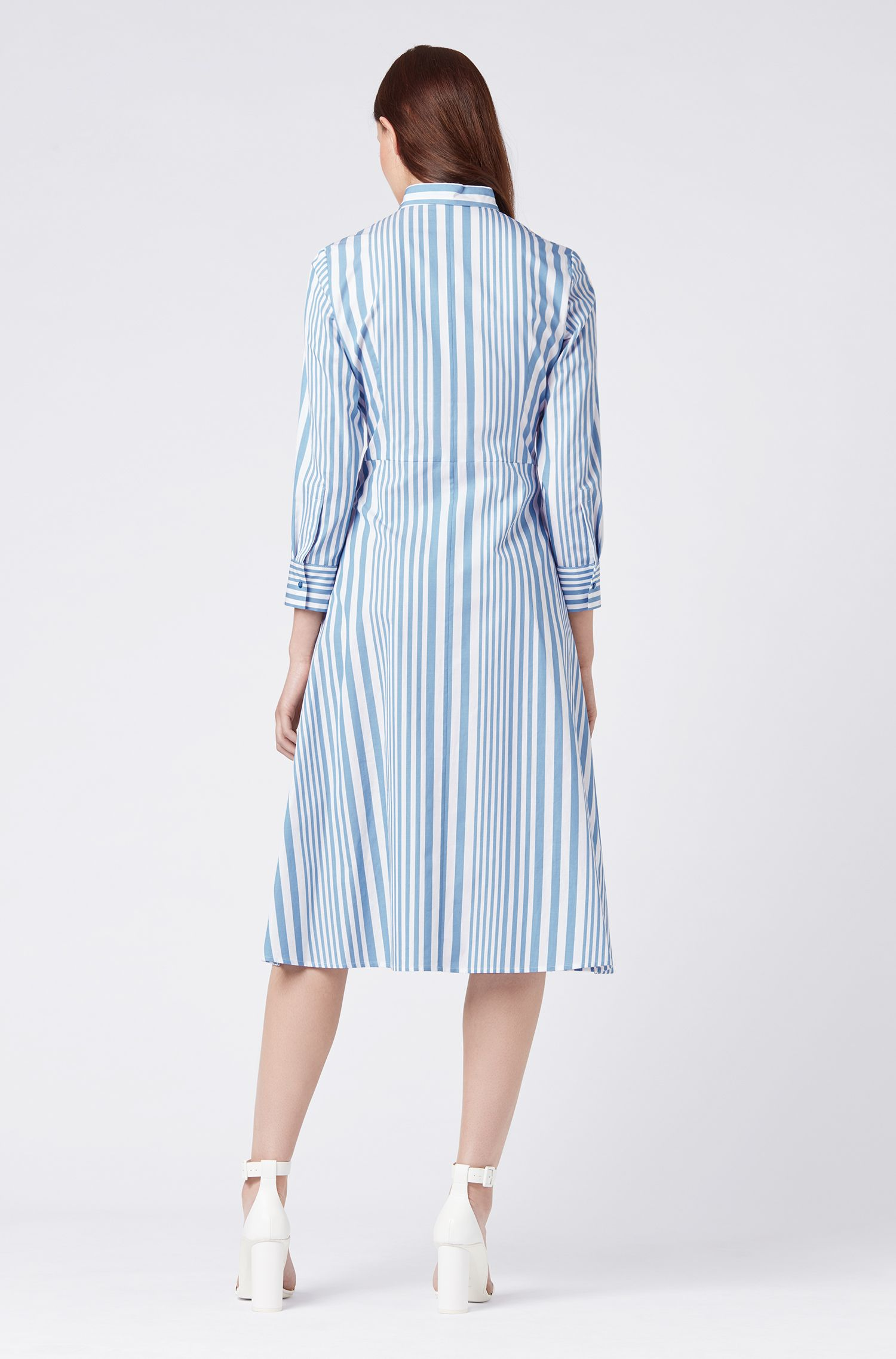 Striped shirt dress in pure cotton with tie waist, Patterned