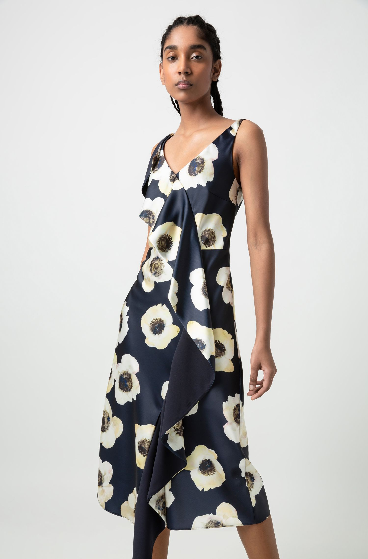 Oversized-floral-print sleeveless dress with cascading volant, Patterned