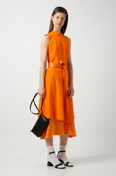 Sleeveless midi dress with double-layered skirt, Orange