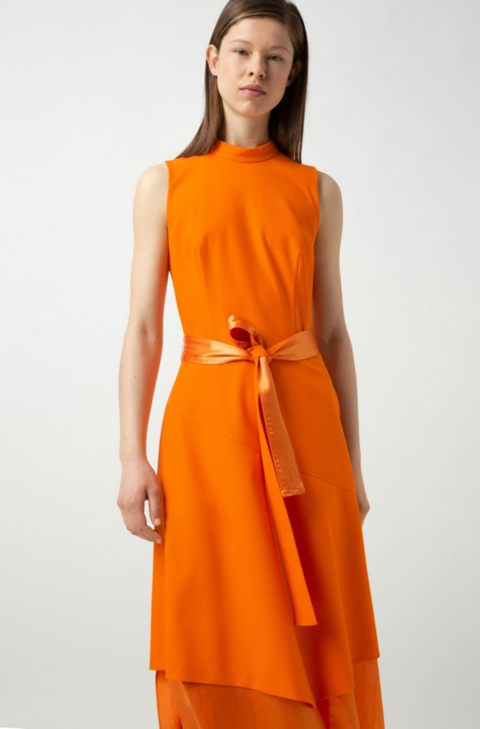 Sleeveless midi dress with double-layered skirt