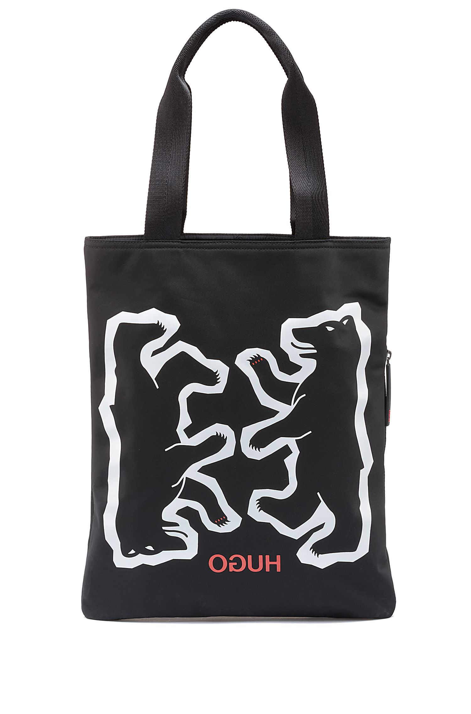 Bear motif tote bag in nylon gabardine, Black