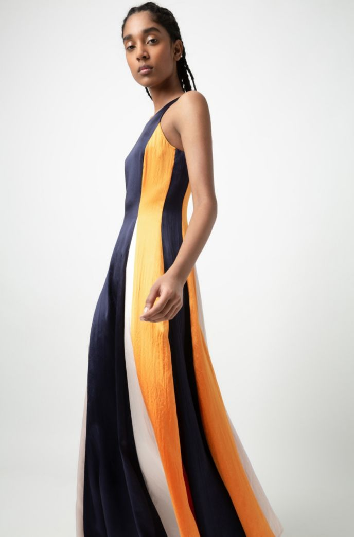 Sleeveless color-block maxi dress in lustrous fabric