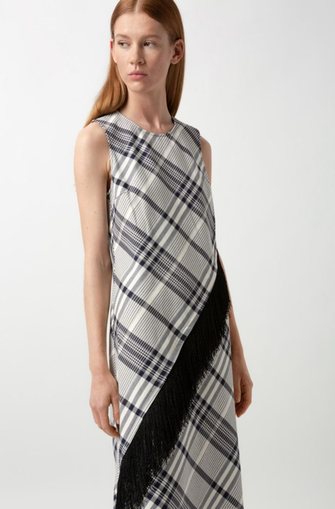 Checked-cotton dress with fringing and asymmetric hem