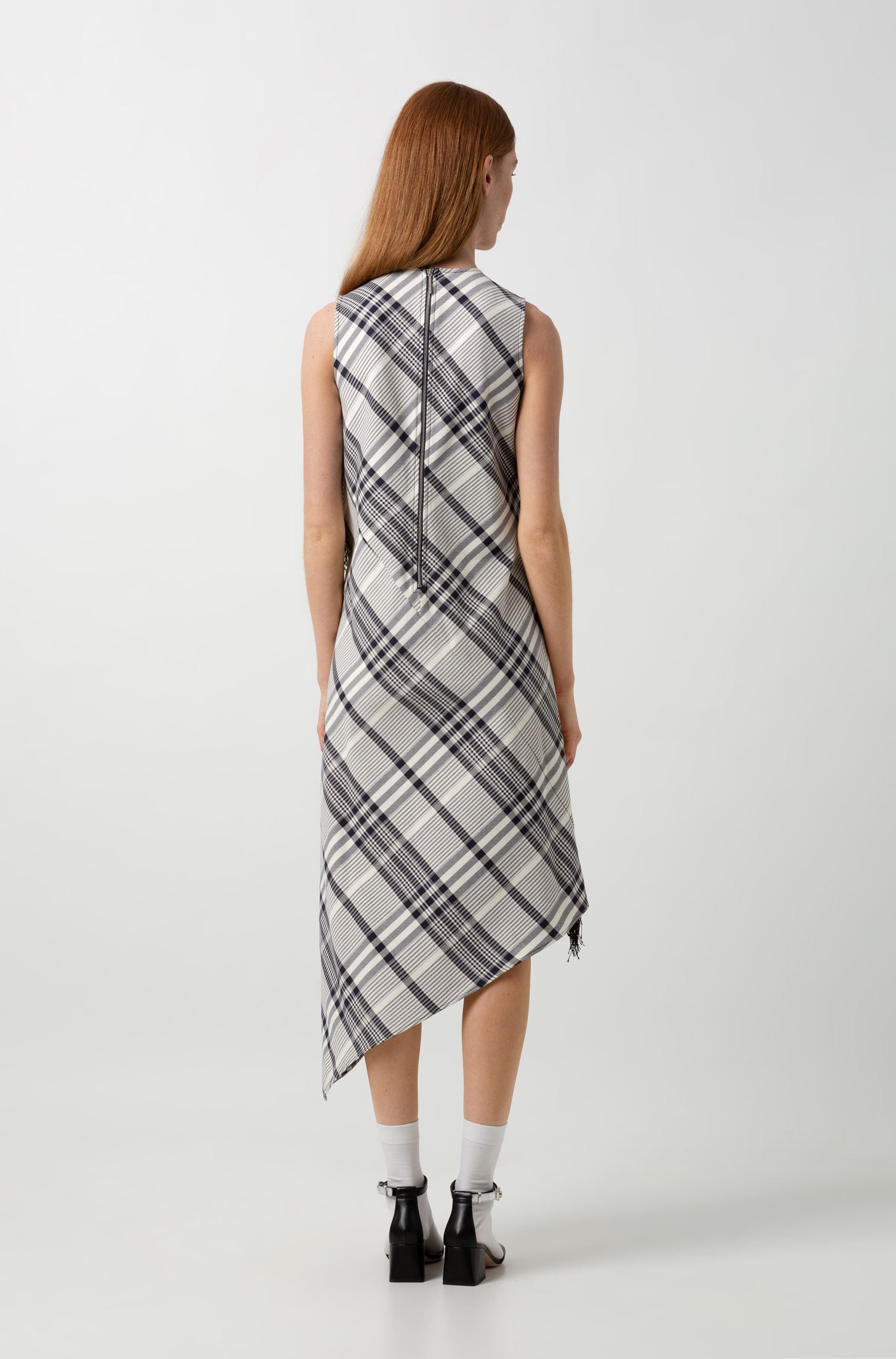 Checked-cotton dress with fringing and asymmetric hem, Patterned