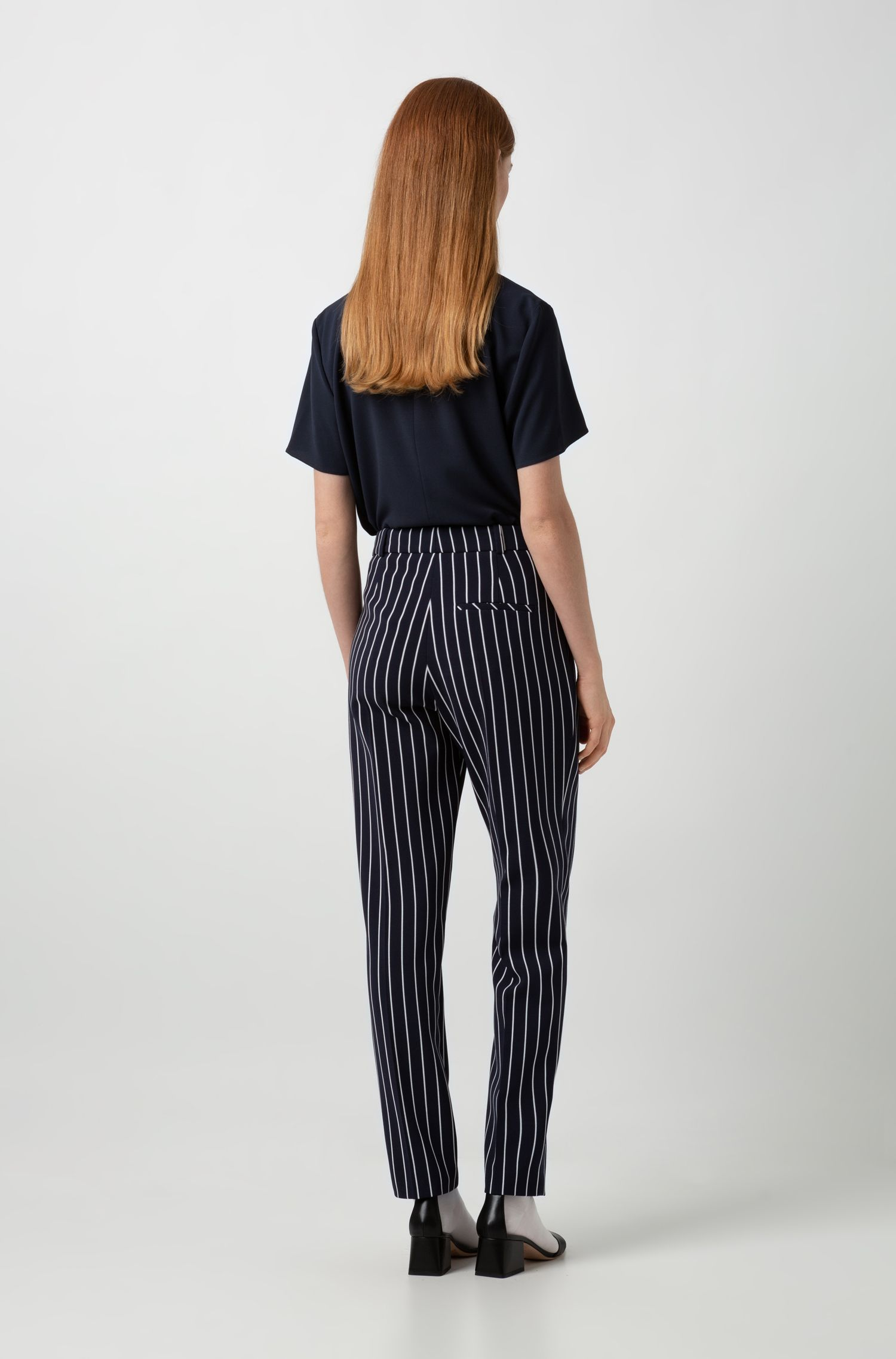 Regular-fit cropped pants in striped fabric, Patterned