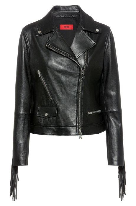 Lamb-leather biker jacket with removable fringing, Black