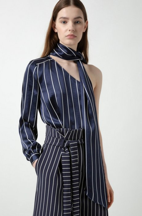 Striped one-shoulder top with neck scarf, Patterned