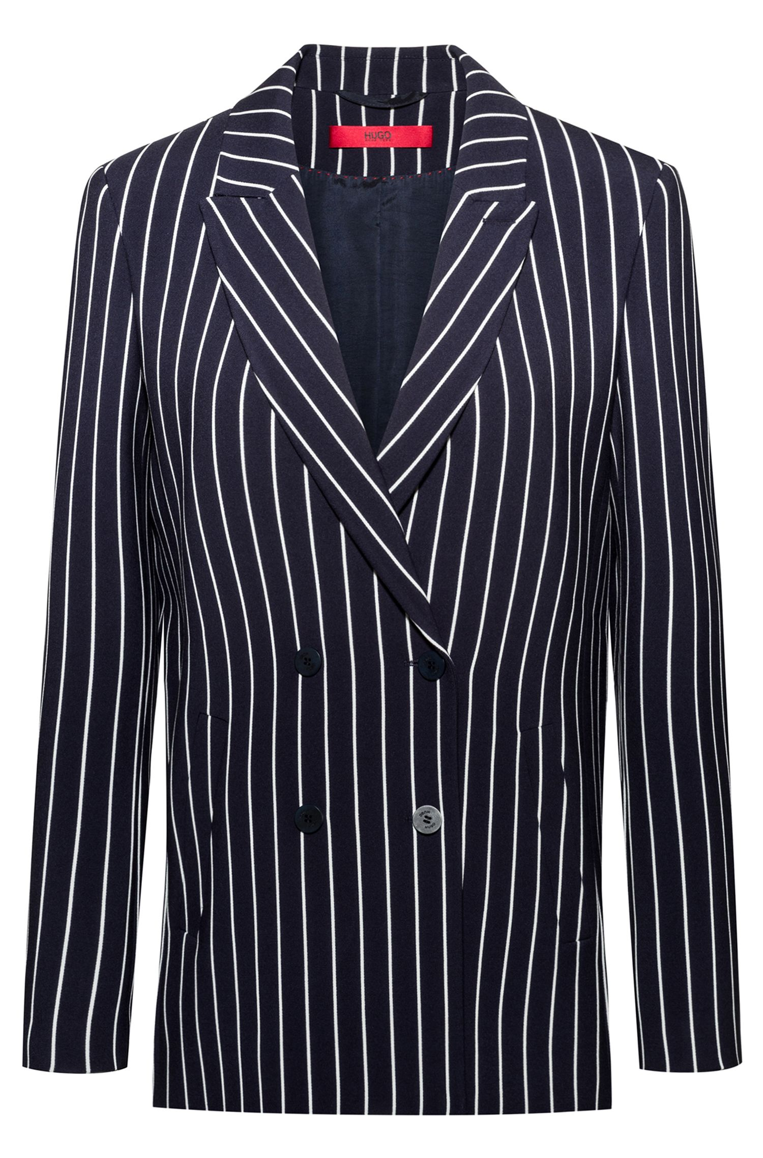 Regular-fit double-breasted jacket in striped fabric, Patterned