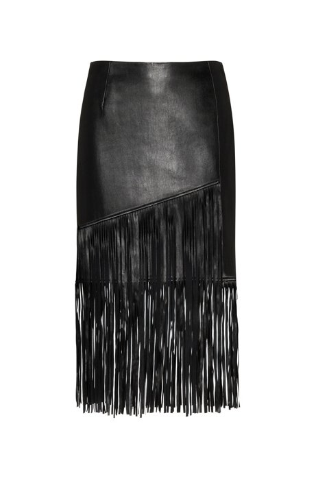 Regular-fit leather mini skirt with long fringing, Black