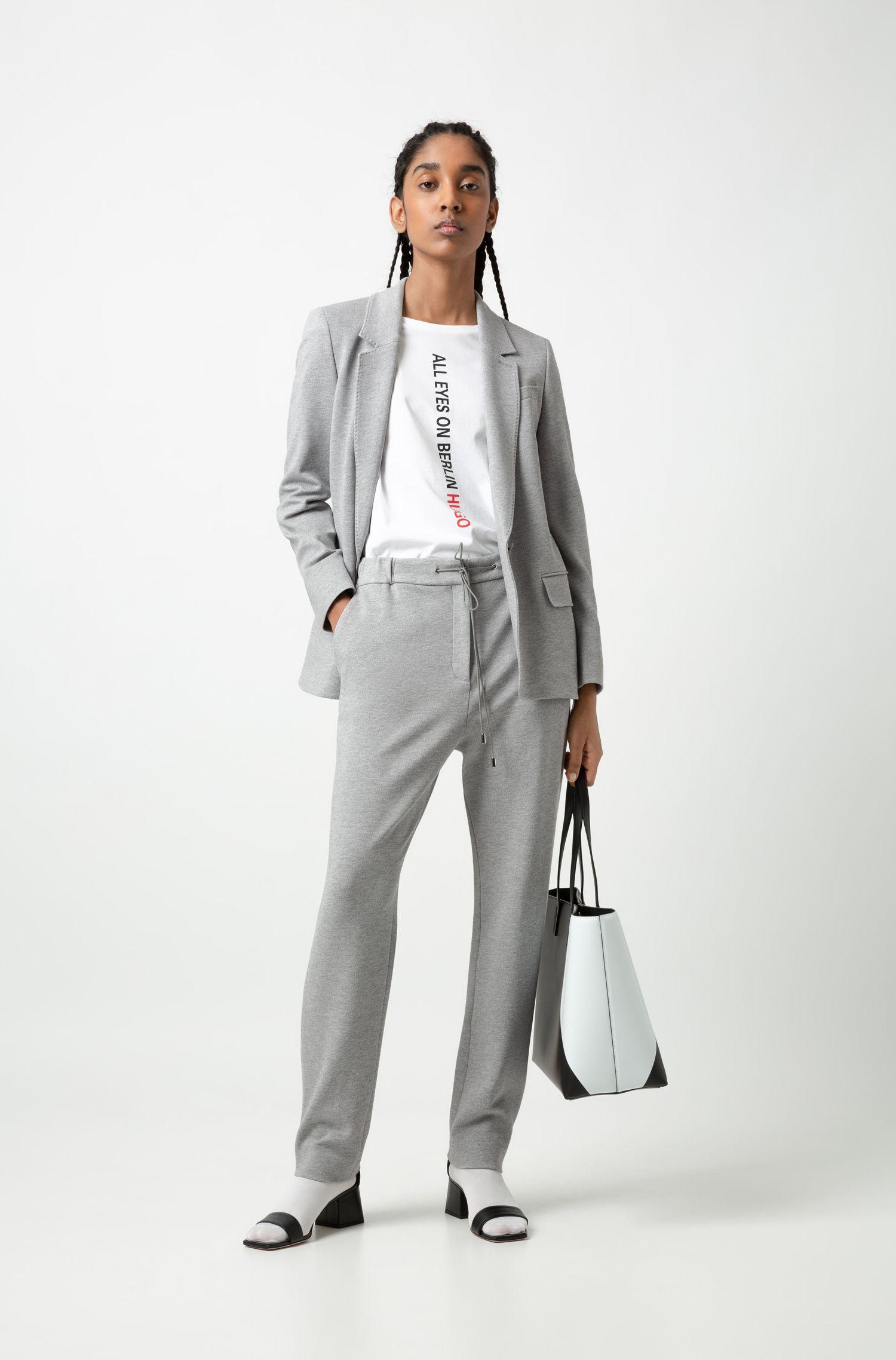 Long-length regular-fit jacket in heavyweight jersey, Grey