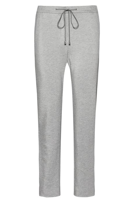 Drawstring jogging pants in heavyweight jersey with zipped hems, Grey