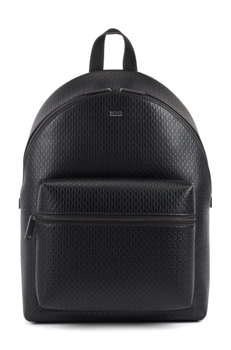 Backpack in monogram-printed Italian leather, Black