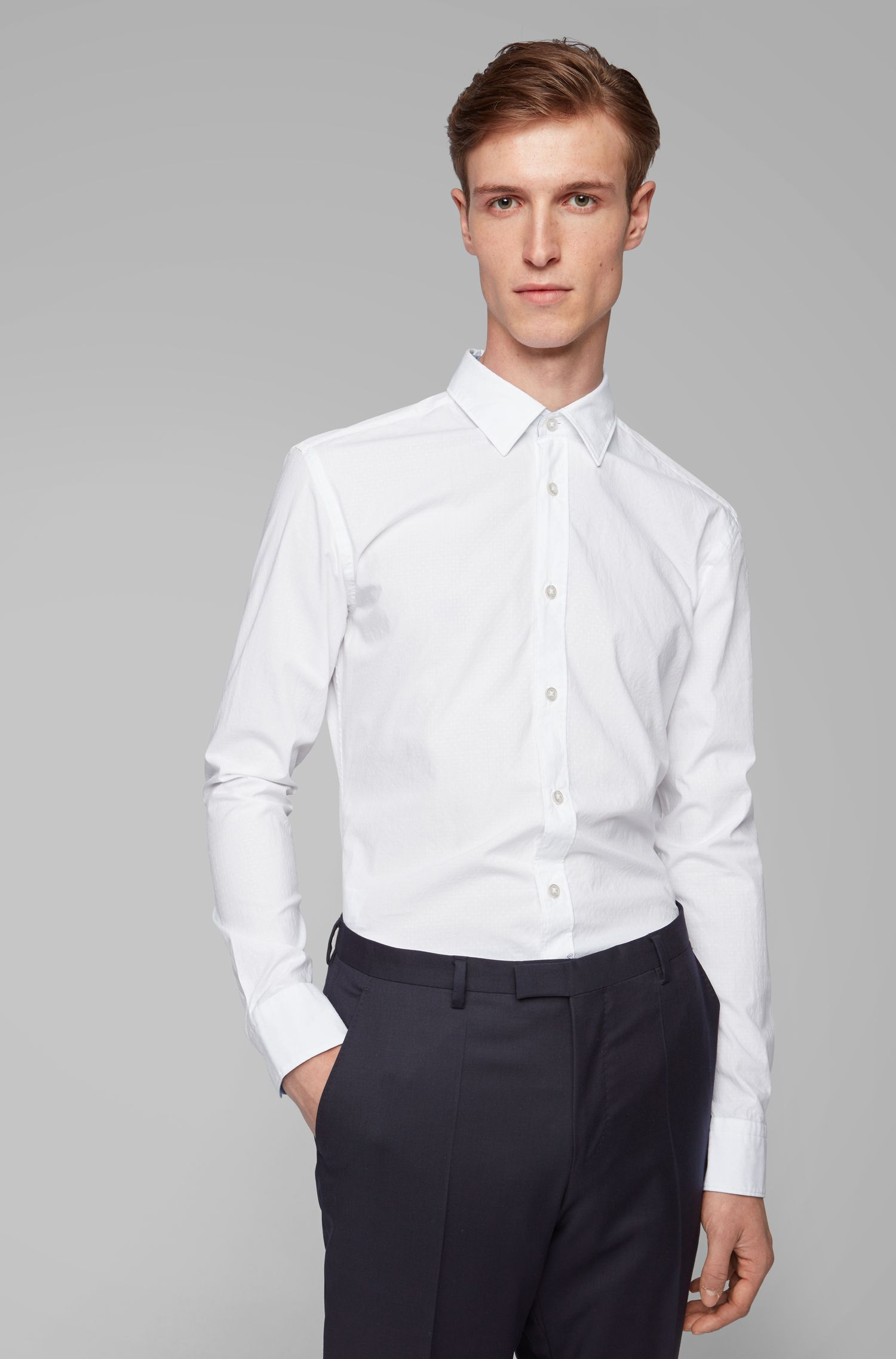 Slim-fit patterned shirt in stretch chambray cotton, White