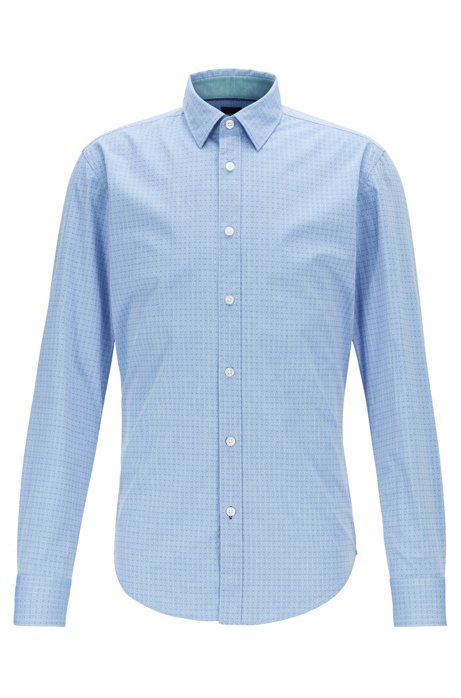 Slim-fit patterned shirt in stretch chambray cotton, Blue