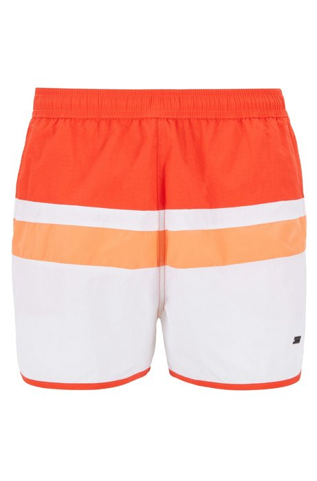 Vintage-inspired swim shorts with placement stripe, Open Orange