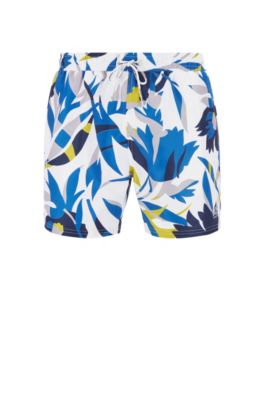 Floral-print swim shorts in quick-dry fabric, Open White