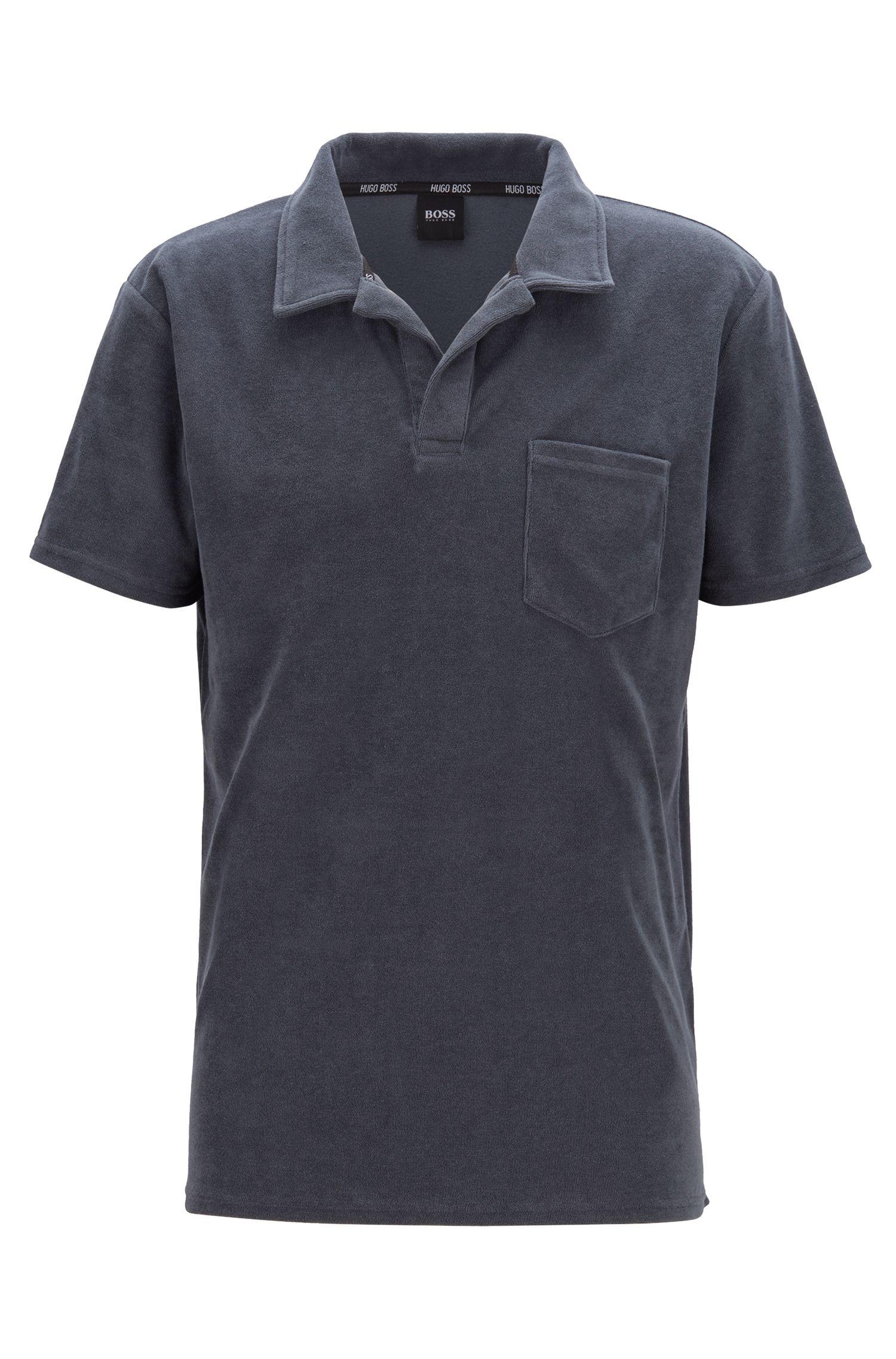 Beach polo shirt in cotton-blend terry, Dark Grey