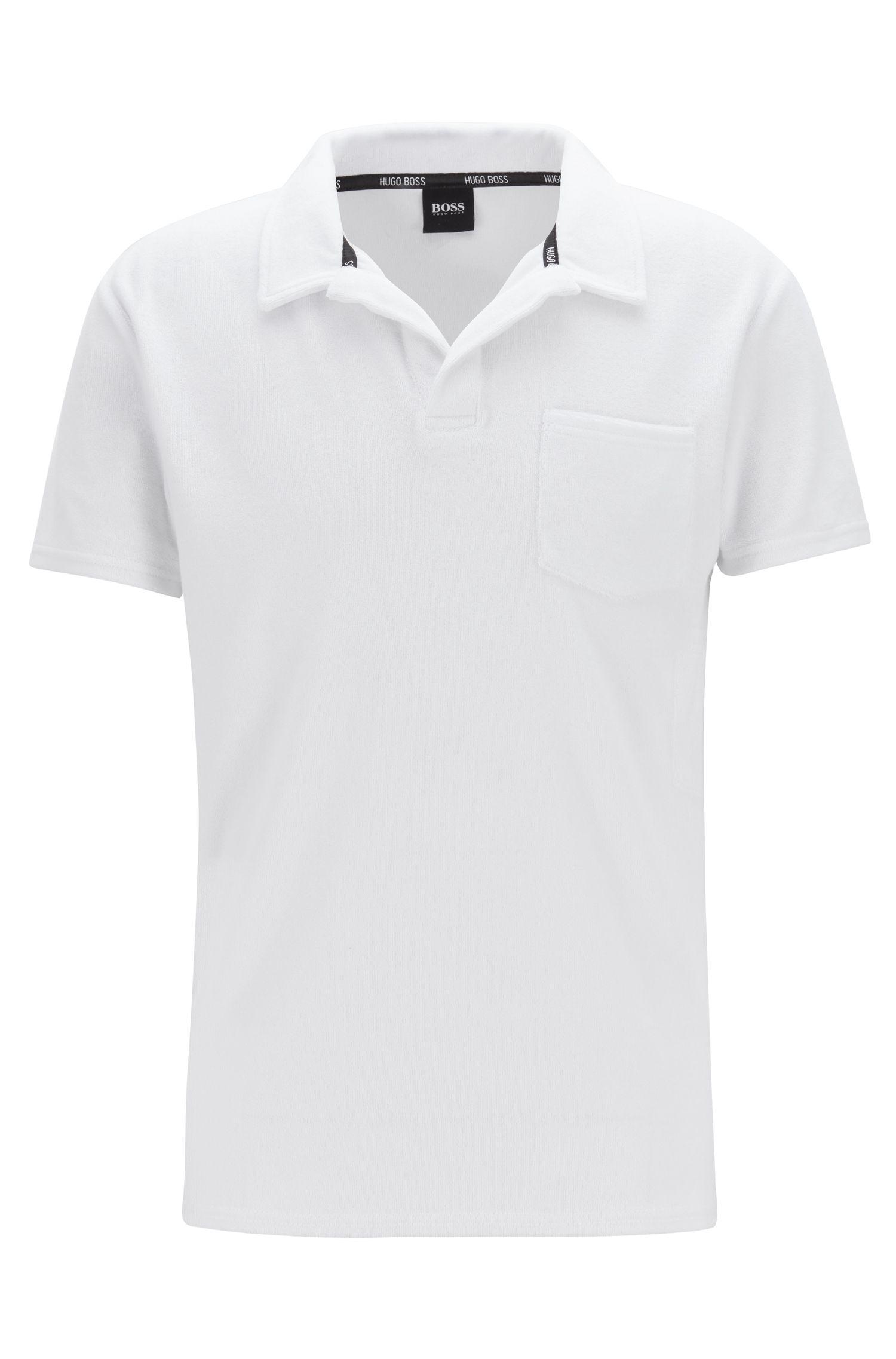 Beach polo shirt in cotton-blend terry, White