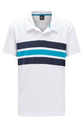 Beach polo shirt in cotton-blend terry, White