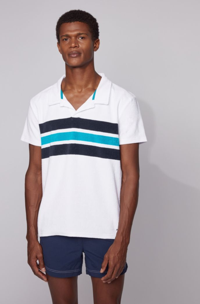Beach polo shirt in cotton-blend terry