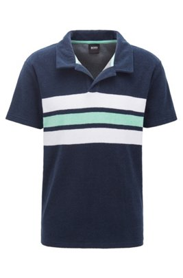 Beach polo shirt in cotton-blend terry, Dark Blue