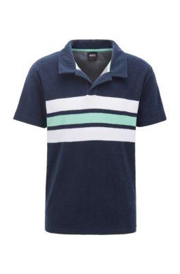 Beach polo shirt in cotton-blend terry, Dark Blue
