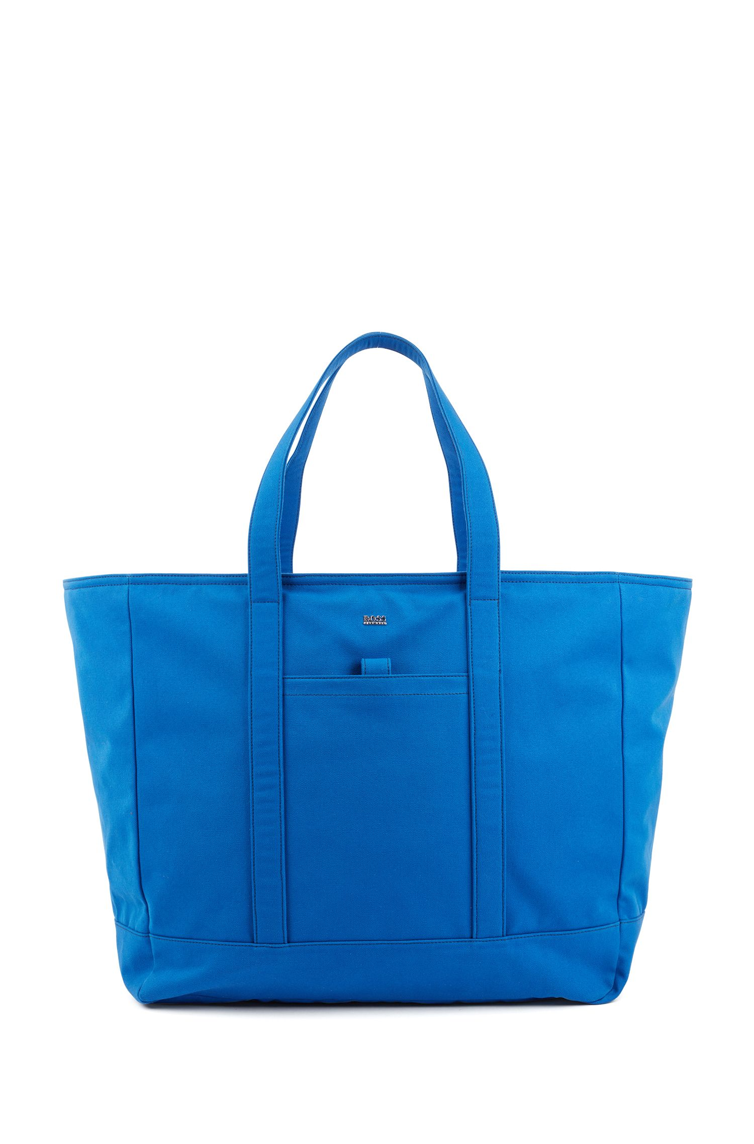 Large tote bag in Italian canvas with logo lettering, Turquoise