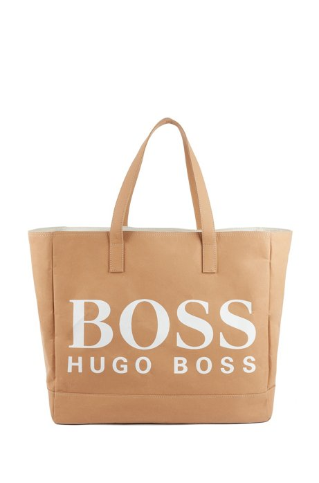 Paper-fiber tote bag with logo print, Light Beige