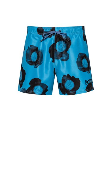 Floral-print swim shorts in quick-dry fabric, Open Blue