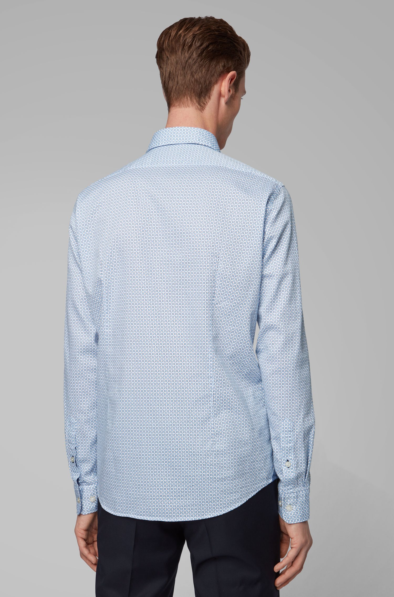 Regular-fit shirt in two-tone-printed dobby cotton, Light Blue
