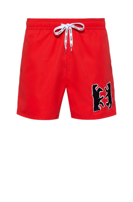 Quick-dry swim shorts with bear motif, Open Pink